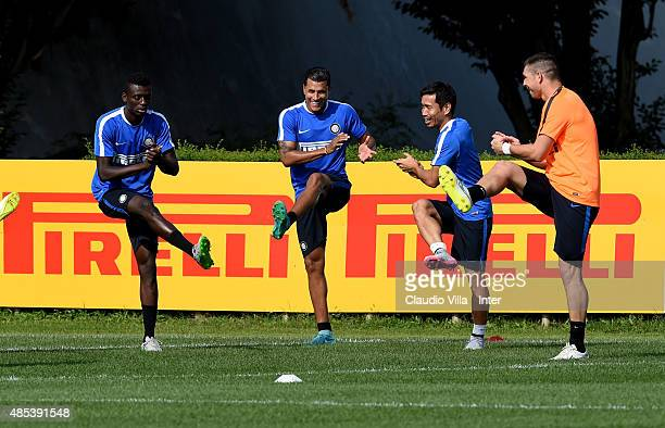 Assane Gnoukouri Jeison Murillo Yuto Nagatomo and Juan Pablo Carrizo of FC Internazionale in action during a training session at the club's training...