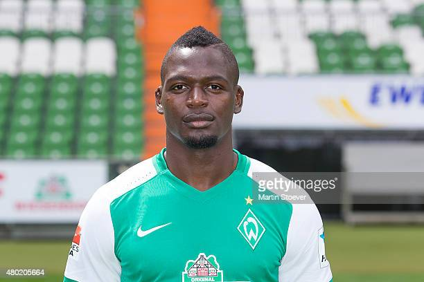 Assani Lukimya poses during the official team presentation of Werder Bremen at Weserstadion on July 10 2015 in Bremen Germany