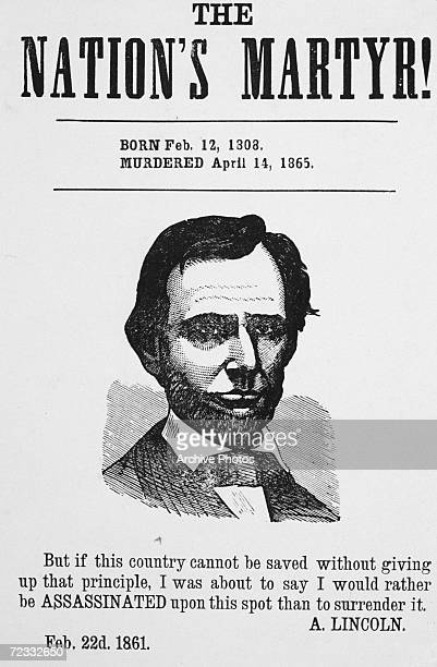 Assassinated American President Abraham Lincoln 'The Nation's Martyr' 1865 Underneath his portrait are the words of a speech he gave at Independence...