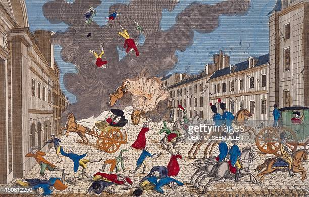 Assassination attempt on the life of the First Consul of France, Napoleon Bonaparte on Rue Saint Nicaise, Paris, 24 December 1800, engraving....