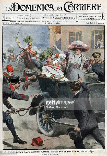 Assassination of Franz Ferdinand 18631914 Archduke of Austria and his wife Sophie in Sarajevo Bosnia 28 June 1914 from La Domenica del Corriere 5th...