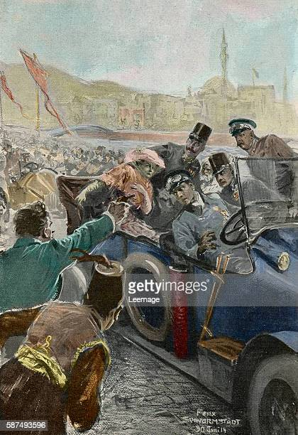 Assassination of Franz Ferdinand Archduke of Austria and his wife Sophie in Sarajevo Bosnia 28 June 1914 Illustration by Felix Schwormstadt private...