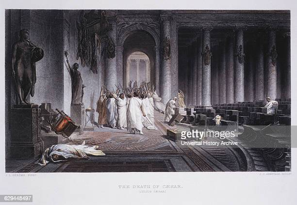Assassination of Julius Caesar 44 BC HandColored Engraving after Painting by JL Gerome circa 1860