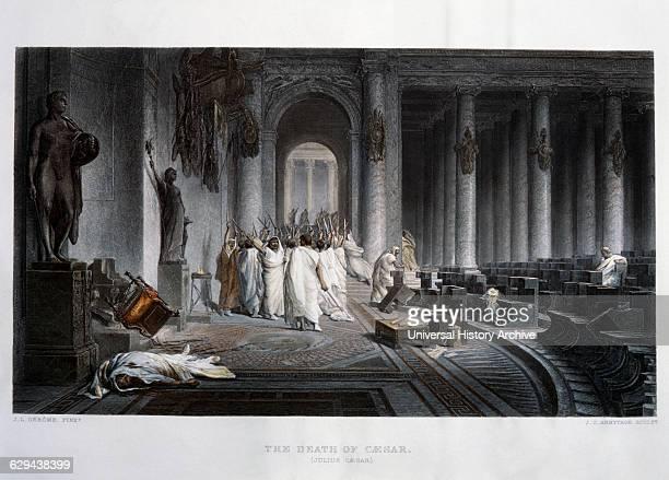 Assassination of Julius Caesar 44BC HandColored Engraving