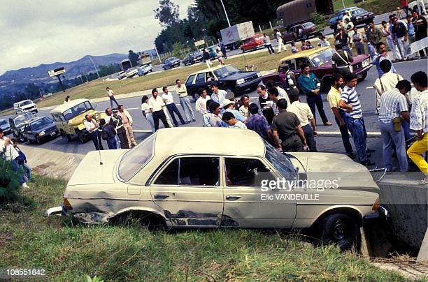 Assassination of the chief prosecutor Carlos Mauro Hoyos near Medellin in Colombia in February 1988