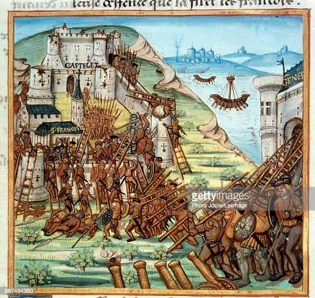 Assault on Genoa 1494 Miniature from the manuscript 'Chronicles' 'Annales sur les gestes de Louis XII' by Saint Jean D'Autun 15th century B N Paris...
