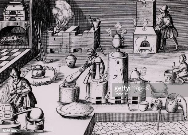 Assay laboratory with various forms of furnace including and athanor or 'Slow Harry' selfstoking furnace for cementation and barrelshaped furnace in...