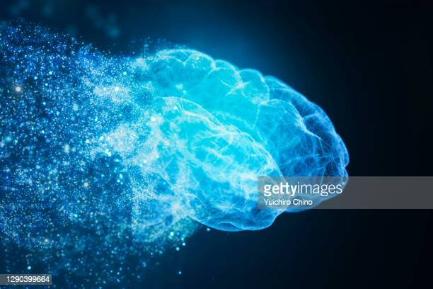 assembling ai brain with particle - destruction stock pictures, royalty-free photos & images