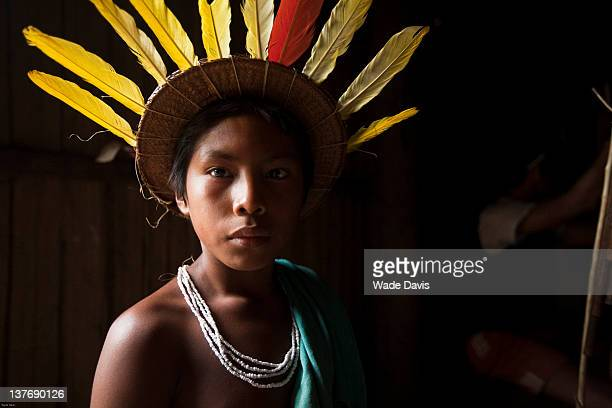 Assembling the ritual regalia for a three day fertility ceremony in honor of Cassava woman in a Puerto Ortega longhouse Rio Piraparana Vaupes...
