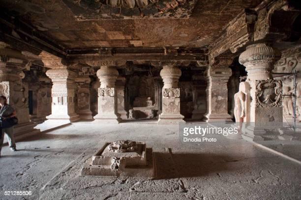 Assembly hall in ellora jain cave at indra sabha, Aurangabad, Maharashtra, India
