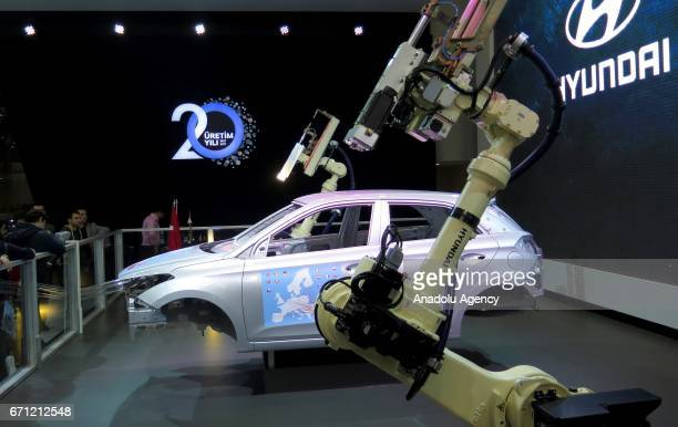 Assembly line demonstration of a Hyundai car is being displayed during the Istanbul Autoshow 2017 at the TUYAP Fair and Convention Center in...