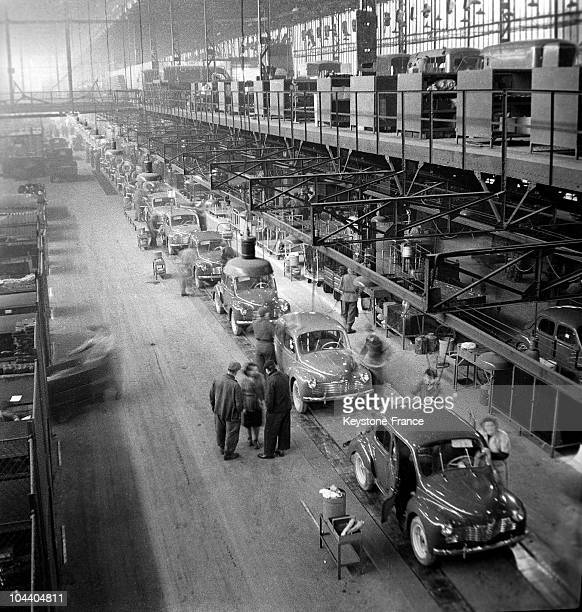 A 4CV assembly line in a RENAULT factory