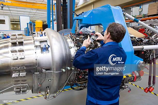 Assembly of an engine for the military transportation airplane Transall in the factory of the MTU Aero Engines GmbH on February 18 2013 in Munich...