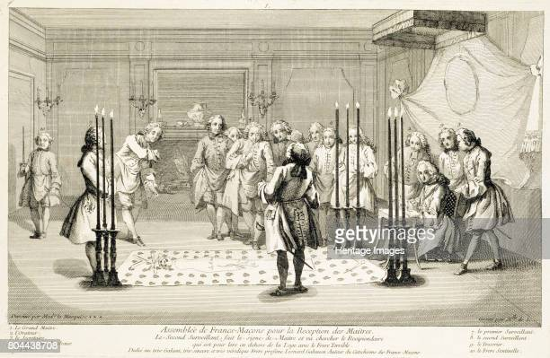 Assembly of Freemasons before the initiation of a master c1733 From The Ceremonies of Religion and Custom c1733 Artist Unknown