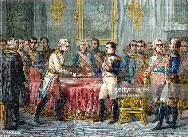 Assembly of Princes in Erfurt on 27 September 1808 (Napoleon receives emissaries of the Austrian emperor, Baron Vincent - Right: Tsar Alexander and...