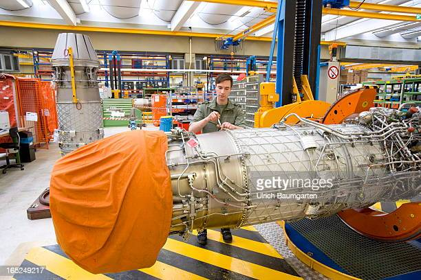 Assembly of the engine EJ 200 for the military combat aircraft Eurofighter in the factory of the MTU Aero Engines GmbH on February 18 2013 in Munich...
