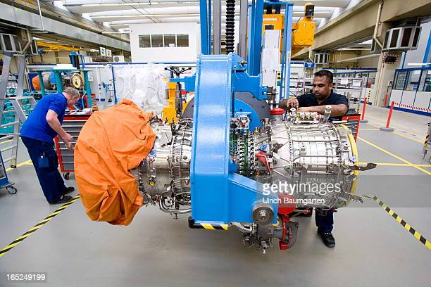 Assembly of the TP 400 engine for the Airbus military transportation airplane A 400 M in the factory of the MTU Aero Engines GmbH on February 18 2013...