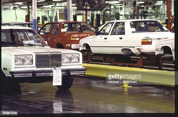 AMC assembly plant where the Chrysler Fifth Avenues are lined up parallel with the AMC Renault Alliance on the assembly lines since Chrysler bought...