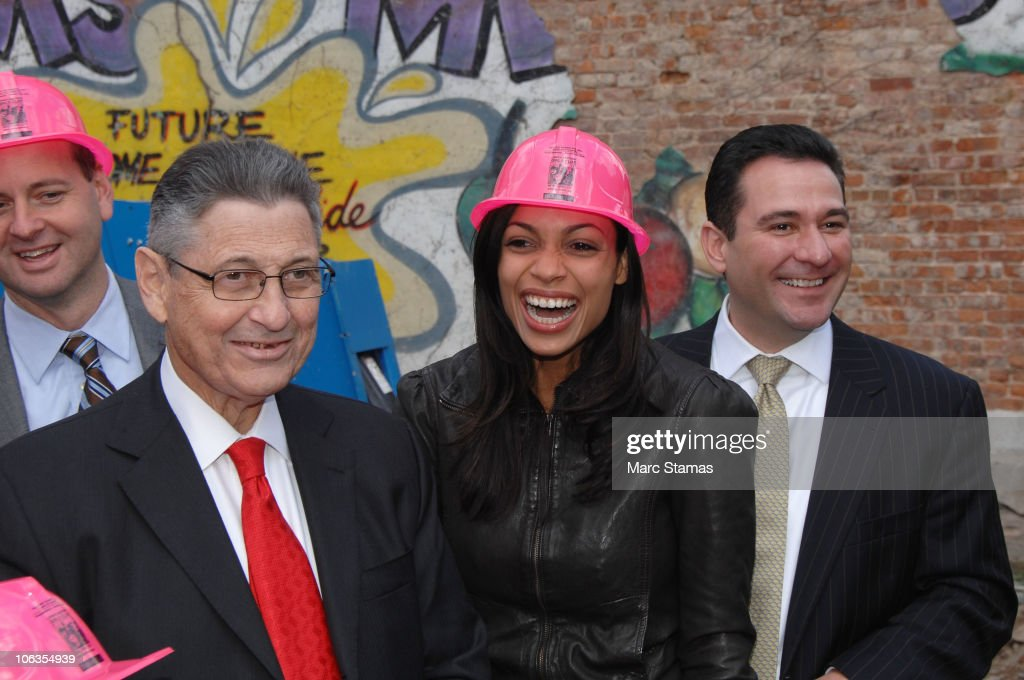 Assembly Speaker Sheldon Silver and Actress Rosario Dawson attend the Lower Eastside Girls Club groundbreaking on October 29, 2010 in New York City.