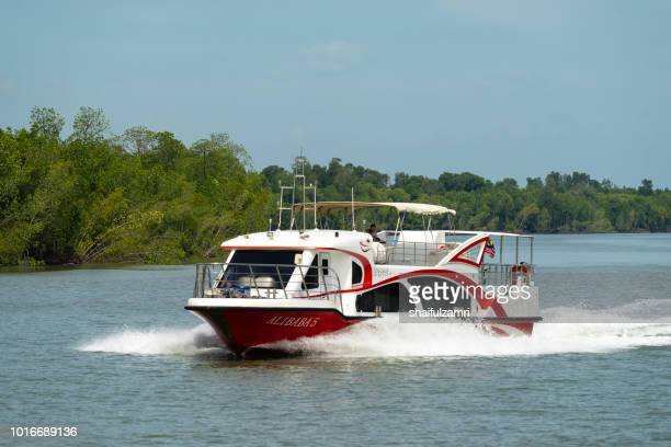assenger boat from port klang route to pulau ketam via mangrove trees, a shrub or small tree that grows in coastal saline or brackish water. - shaifulzamri fotografías e imágenes de stock