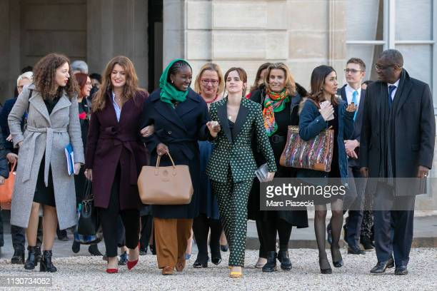 Assia Benziane Marlene Schiappa Aissata Lam actress Emma Watson Liza Azuelos Denis Mukwege arrive to attend the first meeting for G7 Advisory...