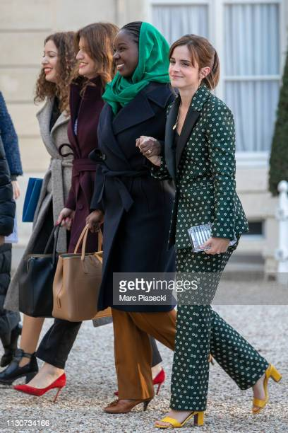 Assia Benziane Marlene Schiappa Aissata Lam Actress Emma Watson arrive to attend the first meeting for G7 Advisory committee for Equality between...