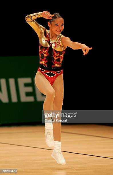 Assia Ramizova of Bulgaria in action in the sport aerobic discipline during the World Games 2005 on July 24 2005 in Duisburg Germany