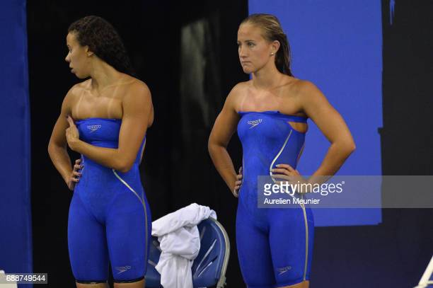 Assia Touati and Alizee Morel react during the 4x200m Women's Team Freestyle final on day four of the French National Swimming Championships on May...