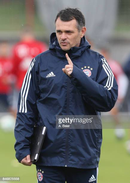 Assisent coach Willy Sagnol of FC Bayern Muenchen is pictured during a training session at the club's Saebener Strasse training ground on September...
