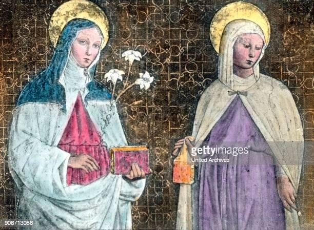 Assisi, Hl. Elisabeth und Hl. Klara. Holy Elizabeth and Holy Clare, fresko at Assisi, Italy. Women, halo, Saint Elizabeth of Hungary, history,...