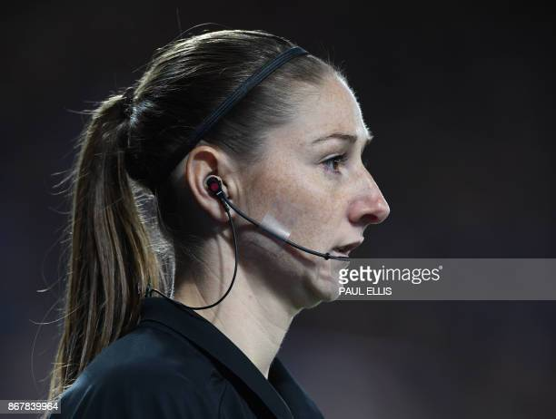assistan referee Sian MasseyEllis looks on during the English Premier League football match between Leicester City and Everton at King Power Stadium...