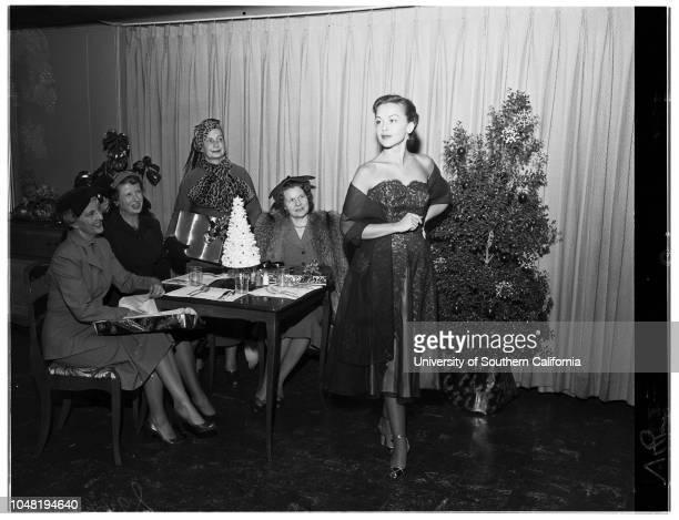 Assistance League fine arts committee fashion show 28 November 1951 Mrs Benjamin Watkins LeighMrs Reid WassonMrs Eugene M HarringtonMrs Wilbur B...