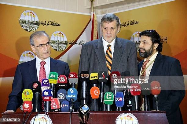 Assistance Mission for Iraq Jan Kubis and Governor of Kirkuk Necmettin Kerim hold a press conference after a bilateral meeting in Kirkuk Iraq on...