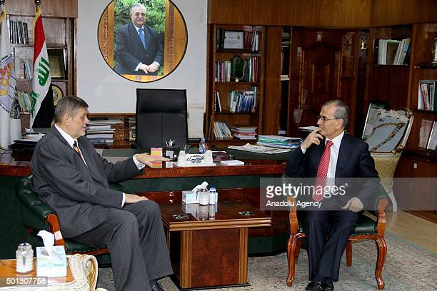 Assistance Mission for Iraq Jan Kubis meets Governor of Kirkuk Necmettin Kerim in Kirkuk Iraq on December 14 2015