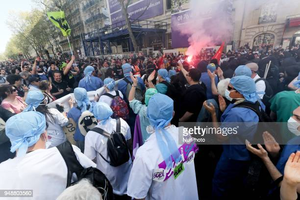 Assistance publique and Hôpitaux de Paris workers takes part in a demonstration on April 19 2018 in Paris as part of a multi branch day of protest...