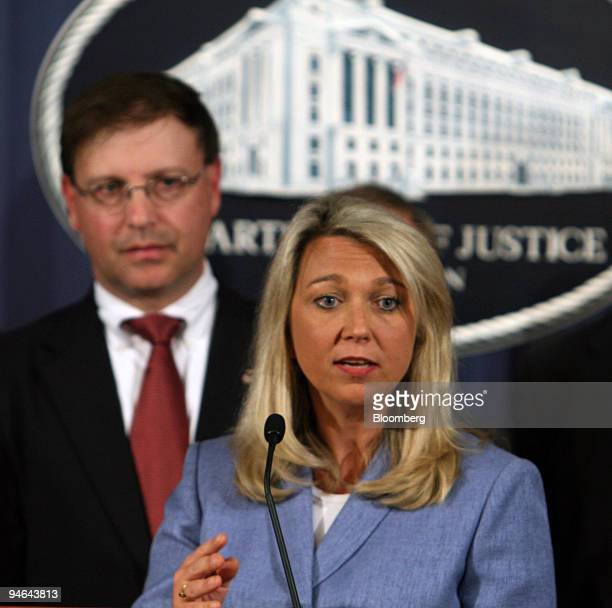Assistant Attorney General Alice Fisher speaks about the indictment against US Representative William Jefferson during a news conference at the...