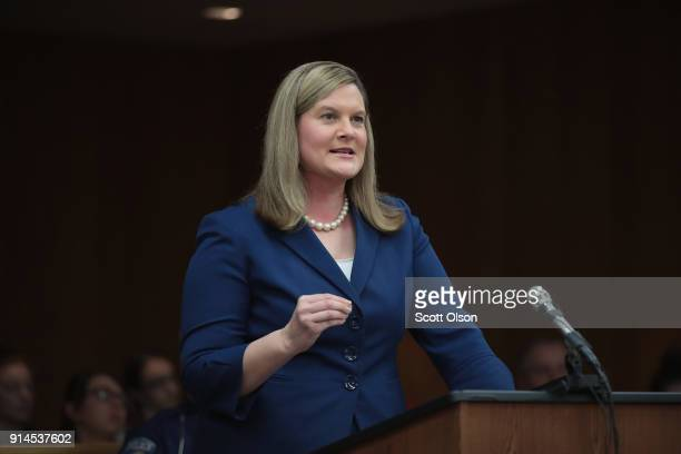 Assistant Attorney General Angela Povilaitis reads a statement at the sentencing hearing of Larry Nassar in Eaton County Circuit Court on February 5...