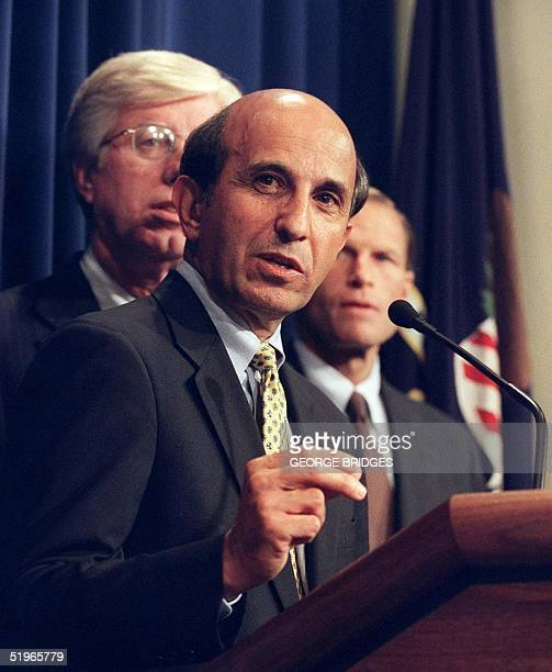 Assistant Attorney General in charge of the Antitrust Division Joel Klein the lead government lawyer in the Microsoft case speaks at a news...
