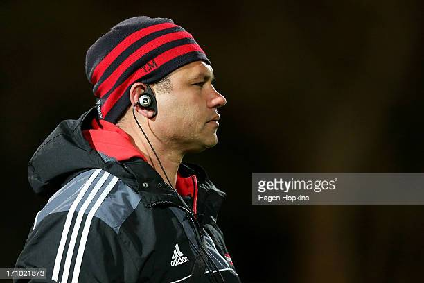 Assistant backs coach Tabai Matson of the Crusaders looks on during the Super Rugby practice match between the Hurricanes and the Crusaders at Levin...