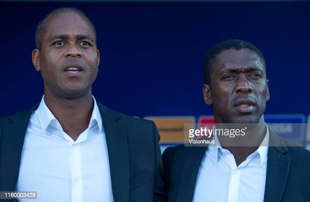 Assistant Cameroon Coach Patrick Kluivert and Head Coach Clarence Seedorf during the 2019 Africa Cup of Nations Group F match between Benin and...