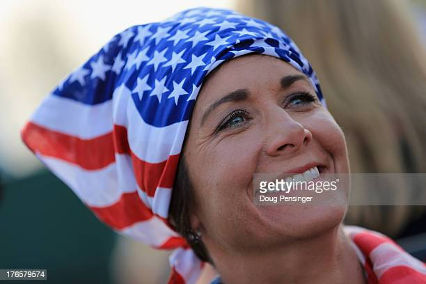 Assistant captain Laura Diaz of the United States Team is seen following the opening ceremonies for the 2013 Solheim Cup on August 15 2013 at the...