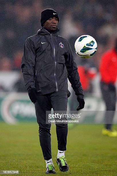 PSG assistant Claude Makelele kicks the ball prior to the French Cup match between Paris SaintGermain FC and Marseille Olympic OM at Parc des Princes...