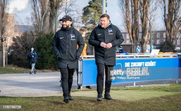 Assistant coach Admir Hamzagic and assistant coach Andreas 'Zecke' Neuendorf of Hertha BSC during the training session at Schenckendorffplatz on...