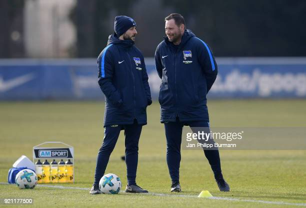 assistant coach Admir Hamzagic and coach coach Pal Dardai of Hertha BSC chat during the training at the Schenkendorfplatz on february 19 2018 in...