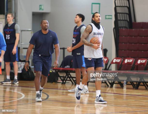 Assistant Coach Adrian Griffith and Carmelo Anthony of the Oklahoma City Thunder during shoot around as part of the NBA Mexico Games 2017 on December...