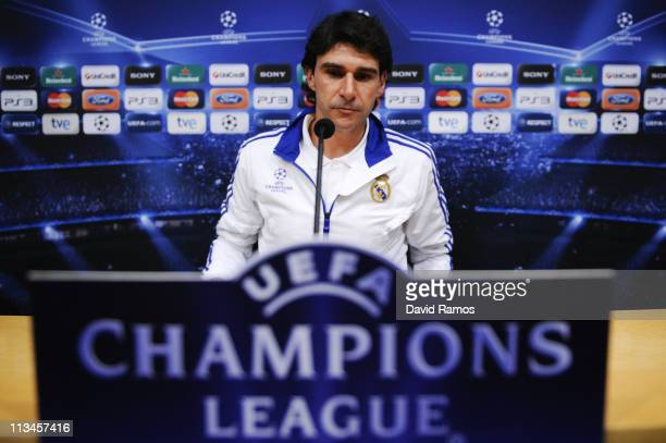 Assistant coach Aitor Karanka of Real Madrid answers a question during a press conference at the Camp Nou Stadium ahead of Barcelona's UEFA Champions...