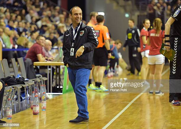 Assistant coach Alexander Haase of Fuechse Berlin laughs during the game between Fuechse Berlin and GWD Minden on february 11, 2015 in Berlin,...