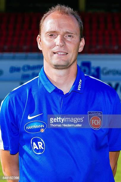 Assistant coach Alexander Raaf poses during the 1FC Heidenheim team presentation at VoithArena on July 5 2016 in Heidenheim Germany