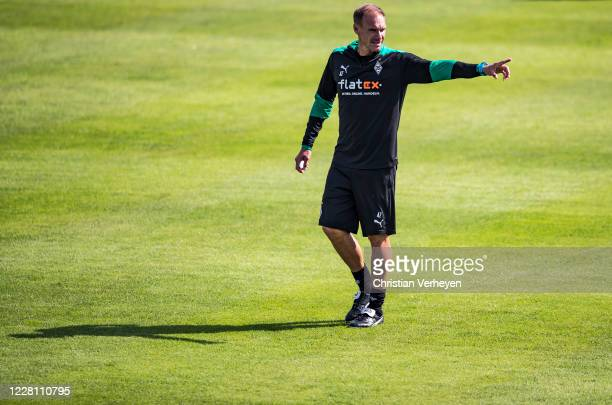 Assistant Coach Alexander Zickler gives instructions during the Training Camp of Borussia Moenchengladbach at Klosterpforte on August 19, 2020 in...