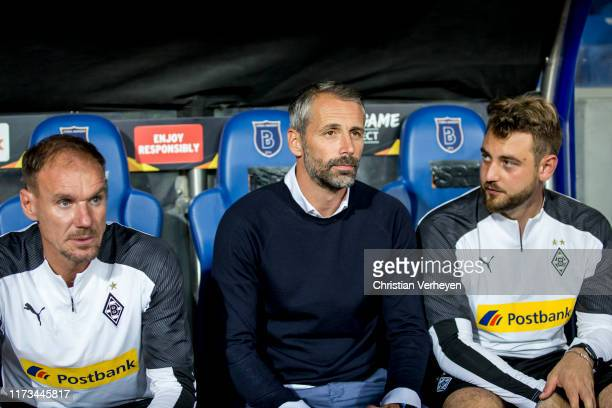 Assistant Coach Alexander Zickler Head Coach Marco Rose and Assistant Coach Rene Maric of Borussia Moenchengladbach are seen during the UEFA Europa...